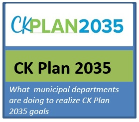 "Graphic of the CK Plan 2035 logo with subtitle ""What municipal departments are doing to relaize CK Plan 2035 goals"""