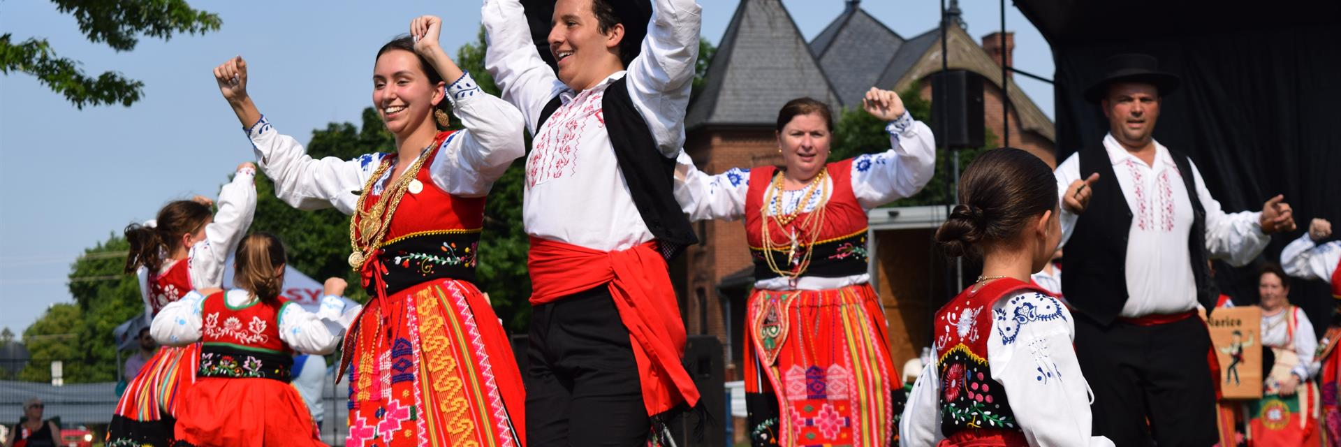 Portuguese dancers in the park.