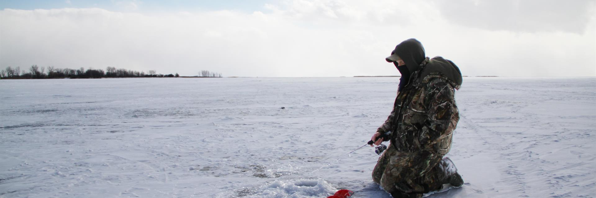 Ice fisher on Mitchell's Bay
